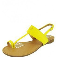 Yellow SUMMER THONG SANDAL @ KiwiLook fashion