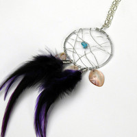Dream Catcher Necklace Wire Wrapped Dream Catcher Pendant Necklace Purple Feathers