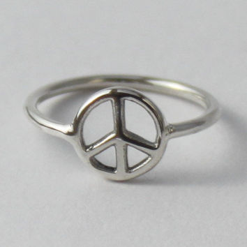 Peace Sign Ring - Fun sterling silver ring