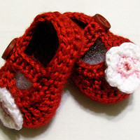 Baby Girl Mary janes--Red crocheted Baby Shoes with flowers