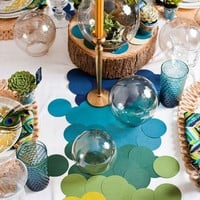 Colored paper circles for table runner