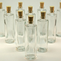 25 Clear Glass Bottles with Corks