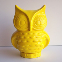 Ceramic Owl Planter Vintage Design Lemon Yellow