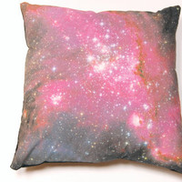 "Galaxy Nebula Print Accent Pillow Cover ""Pillar of Stars"" Throw Pillow"