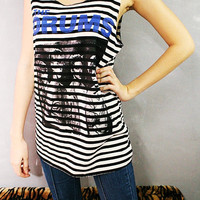 The Drums American Indie Pop Striped Vest Singlet Tank Top T-Shirt Women Size M L