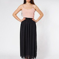 American Apparel Polka Dot Chiffon Double-Layered Full Length Skirt