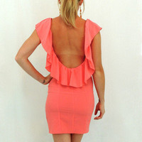 Kiss The Sky Ruffle Dress in Salmon -  $49.00 | Daily Chic Dresses | International Shipping