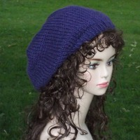 Slouch Hat for Women Knit Blue