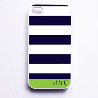 Personalized iPhone Case - Nautical Navy & Lime Green Stripe