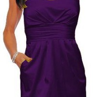 Purple satin strapless pockets cocktail evening dress