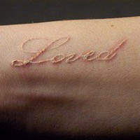 inked / loved in white ink