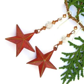 Red Texas Stars Handmade Earrings Rustic Brass Swarovski Dangle Unique