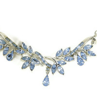 Vintage Rhinestone Necklace Something Blue COROCRAFT