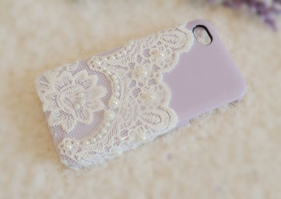 iPhone 4 case, iPhone 4s case, iPhone case, case for iPhone 4 - Love Lace (Lavender)