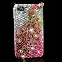 pink rhinestone peacock iphone 4 case  iphone 4s case iphone 4 cover
