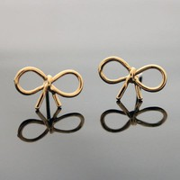 RIBBON earrings in gold by bythecoco on Zibbet