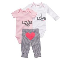 Carter`s 3-pc. Pink & White Love Bodysuit Set