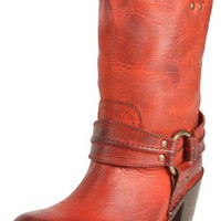 FRYE Women`s Carmen Harness Ankle Boot,Burnt Red,6.5 M US