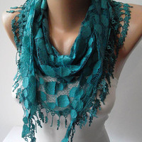 Turqouise Blue Lace Scarf  with Trim Edge--