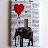 Red Balloon Elephant Switchplate Cover in Single or Double Switch Plate