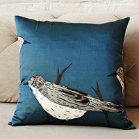 Gemma Orkin Blue Birds Silk Pillow Cover