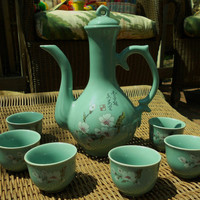 Zen Sea Green Teapot Set - Asian Tea Set - Teapot and 6 cups Cherry blossoms