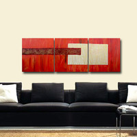 Red ABSTRACT Large Painting 60x20 ORIGINAL Contemporary Fine Art Gold Red Heavy textured Palette Knife Metallic Impasto Living Room