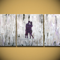 HUGE Painting wedding Heavy Textured, 3 piece Painting, wall hanging, anniversary canvas gift Purple Impasto Lovers contemporary fine art