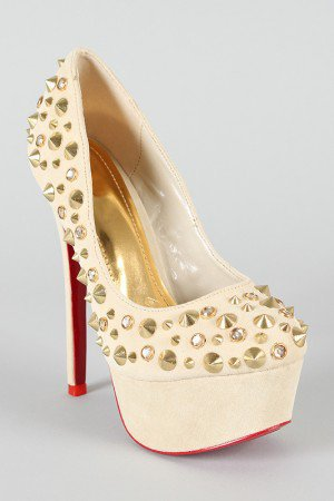 Christian Studded Spike Round Toe Platform Pump