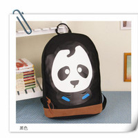 YESSTYLE: Panda- Contrast-Trim Printed Backpack (Black - One Size)