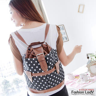 YESSTYLE: Fashion Lady- Polka-Dot Bucket Backpack (Black - One Size)