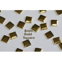 350pc Hotfix Iron On, 8mm Gold Square Flat Back Studs - FlatBack Studs