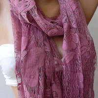 Butterfly / Lilac  - Elegance  Shawl / Scarf with Lacy Edge-