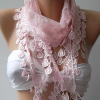 Pink - Shawl / Scarf with Lacy Edge..,.