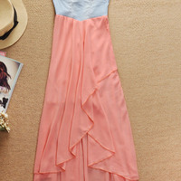 Denim Strapless High Low Chiffon Dress - Pink