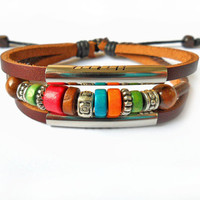 jewelry bangle leather bracelet men bracelet women bracelet girls bracelet made of metal woods leather bracelet cuff  SH-1477