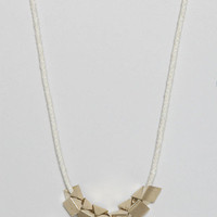 TOTOKAELO - Samma - Triangle on Rope Necklace - White & Brass