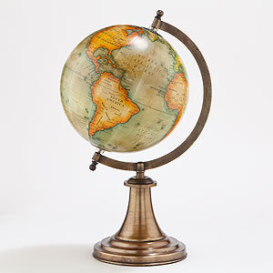 Antique Green Globe with Brass Stand