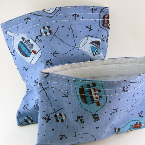 2 Eco-friendly Reusable Sandwich and Snack Bags Set - Ship Blue Party Favor Crayon Pouch Cotton Kid Boy Children - 2 sacs - Ready to ship