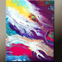 Abstract Art Painting 11x14 Original Contemporary Paintings on Canvas by Destiny Womack - dWo -  Embracing the Light