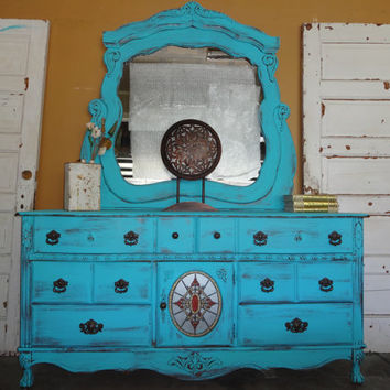 TURQUOISE shabby chic dresser and mirror