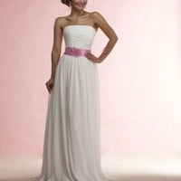 Chiffon Strapless Straight 2012 Column Wedding Dress - Basadress.com