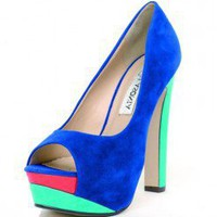 BLUE COLORBLOCK NUBUCK TRENDY PLATFORM @ KiwiLook fashion