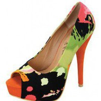 ORANGE WATERCOLOR PRINT PEEP TOE HIGH HEEL @ KiwiLook fashion