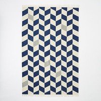 Offset Chevron Cotton Dhurrie - Midnight