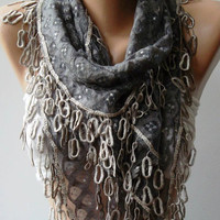 Grey  Lace and Elegance Shawl / Scarf - with Lace Edge..