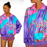 Vtg Neon Psychedelic Color Block Zip Up Windbreaker Jacket
