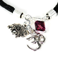 Black Leather Cord Silver Bracelet with Sanskrit Om and Amethyst Swarovski Crystal