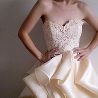 Super Sample Sale--One of a kind Silk and Lace Wedding Gown
