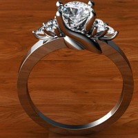 Diamond Custom Engagement Ring with Cluster Accents by WroughtGold